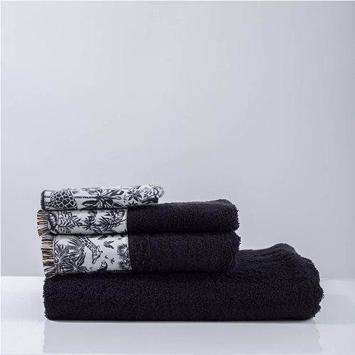 White Fabric Πετσέτα Syrna Μαύρη Προσώπου
