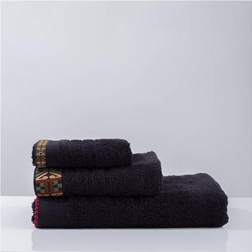 White Fabric Πετσέτα Perrin Μαύρη Χειρός