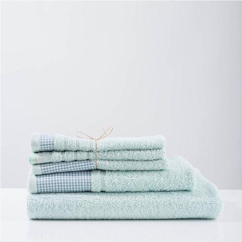 White Fabric Πετσέτα Gingham Mint Μπάνιου