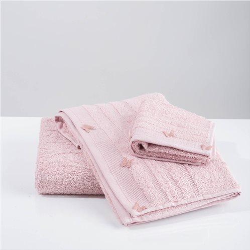 White Fabric Σετ Πετσέτες Butterflies Applique Ροζ