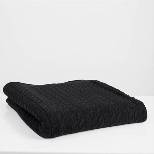 White Fabric Πλεκτή Κουβέρτα - Ριχτάρι Καναπέ Αda Μαύρη