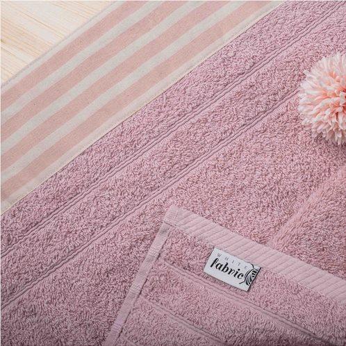 White Fabric Πετσέτα Stripy Ροζ Χειρός