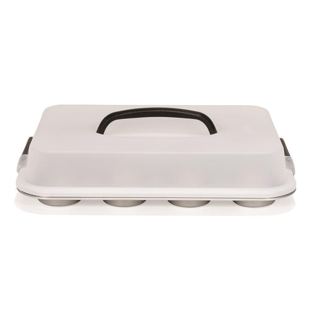 Patisse Φόρμα Αντικολλητική με Καπάκι Μεταφοράς Silver Top 35cm - για 12 Muffins