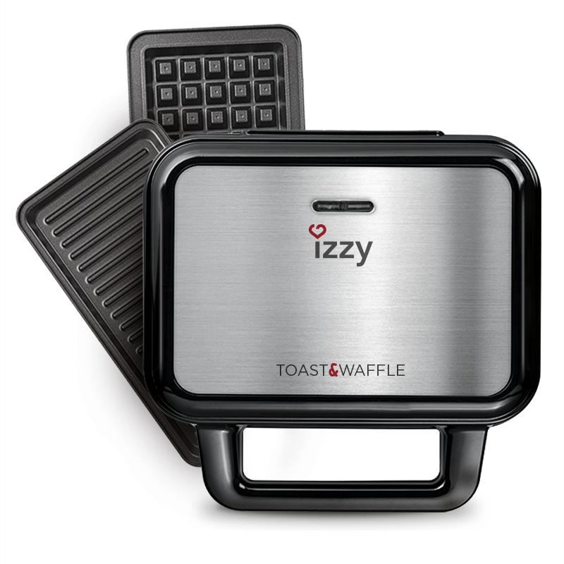 Izzy Τοστιέρα με Αποσπώμενες Πλάκες για 2 Τοστ 1000W 2-σε-1 Με Ραβδώσεις, Βάφλα, XL IZ-2001 Inox