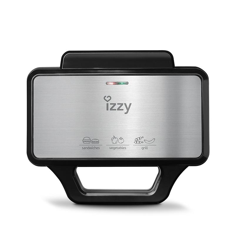 Izzy Τοστιέρα για 2 Τοστ 1000W Πλάκες Με Ραβδώσεις XL Baggetta Inox