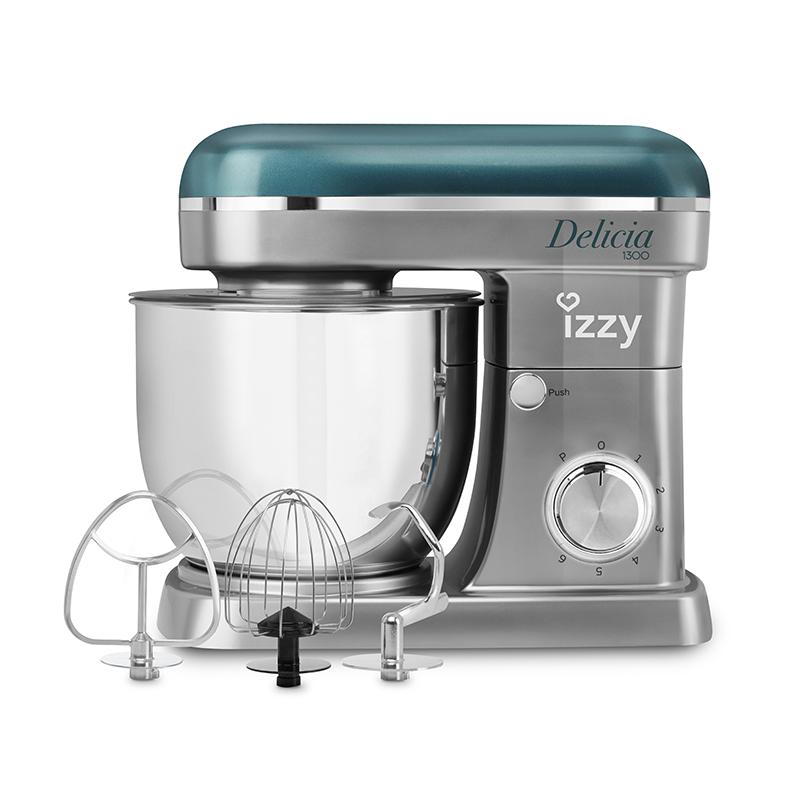 Izzy Κουζινομηχανή 1300W με Ανοξείδωτο Κάδο 5lt Delicia 6 Ταχύτητες και 4 Εξαρτήματα