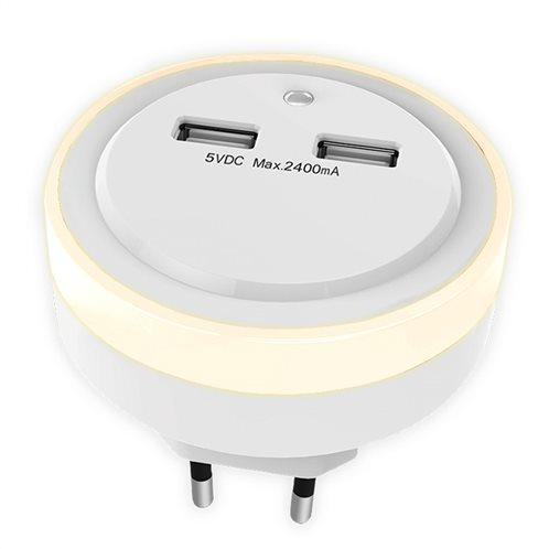 SONORA Φωτάκι νυκτός LED με 2 θύρες φόρτισης USB.  SONORA RING LIGHT USB
