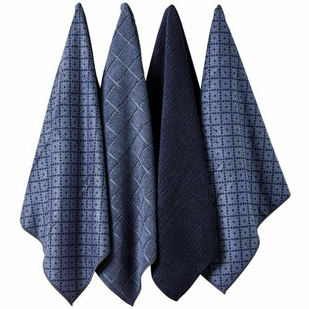 Ladelle Πετσέτες Κουζίνας Microfibre Μπλε Carver 43X68cm - Σετ 4 Τεμαχίων