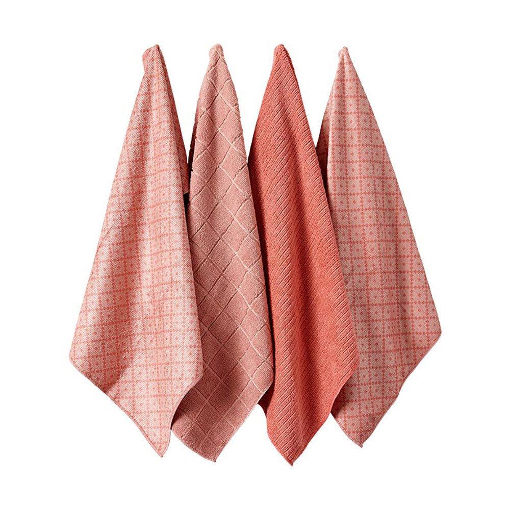 Ladelle Πετσέτες Κουζίνας Microfibre Ροζ Carver 43X68cm - Σετ 4 Τεμαχίων