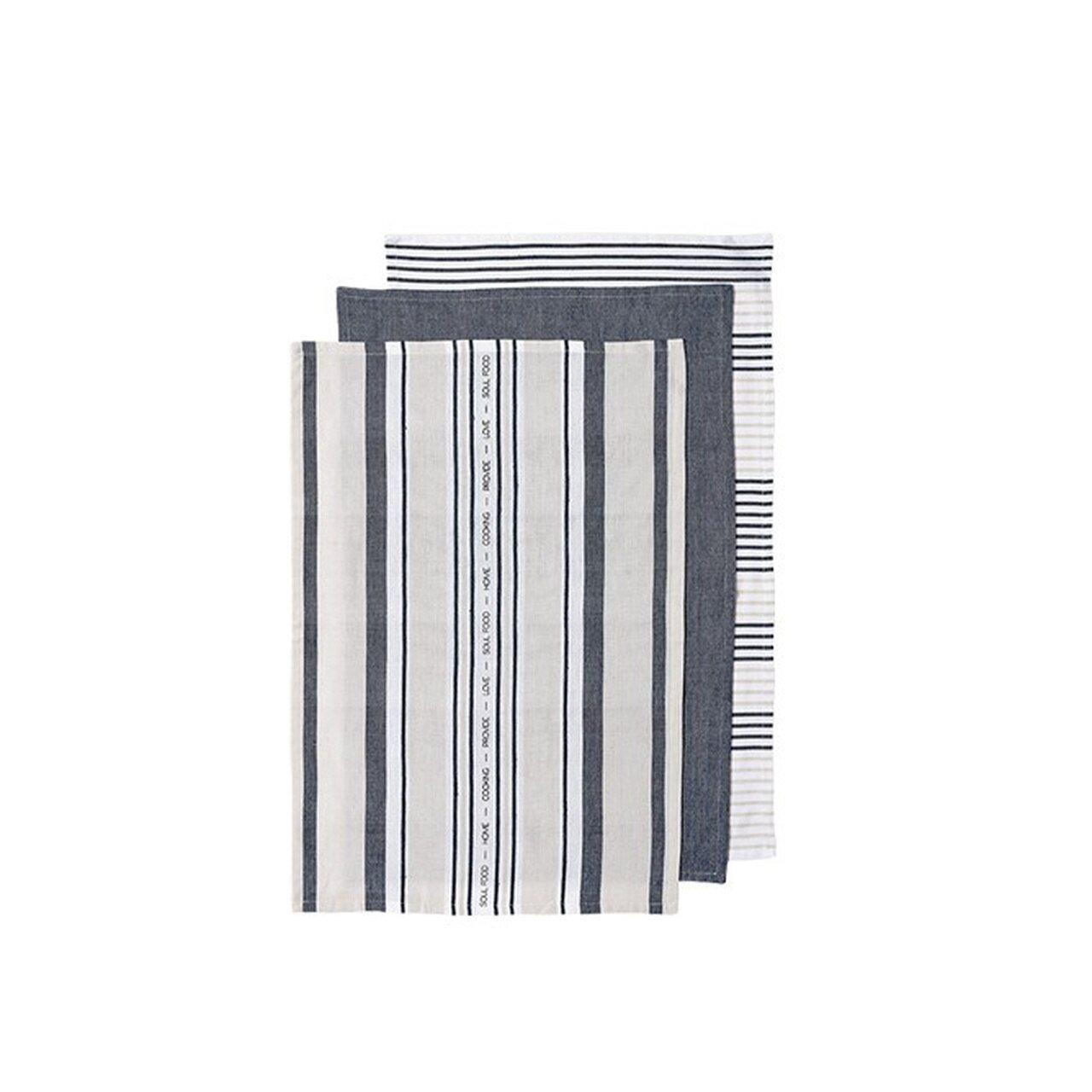 Ladelle Πετσέτες Κουζίνας Βαμβακερές Μπλε Abode Stripe 45X70cm- Σετ 3 Τεμάχια