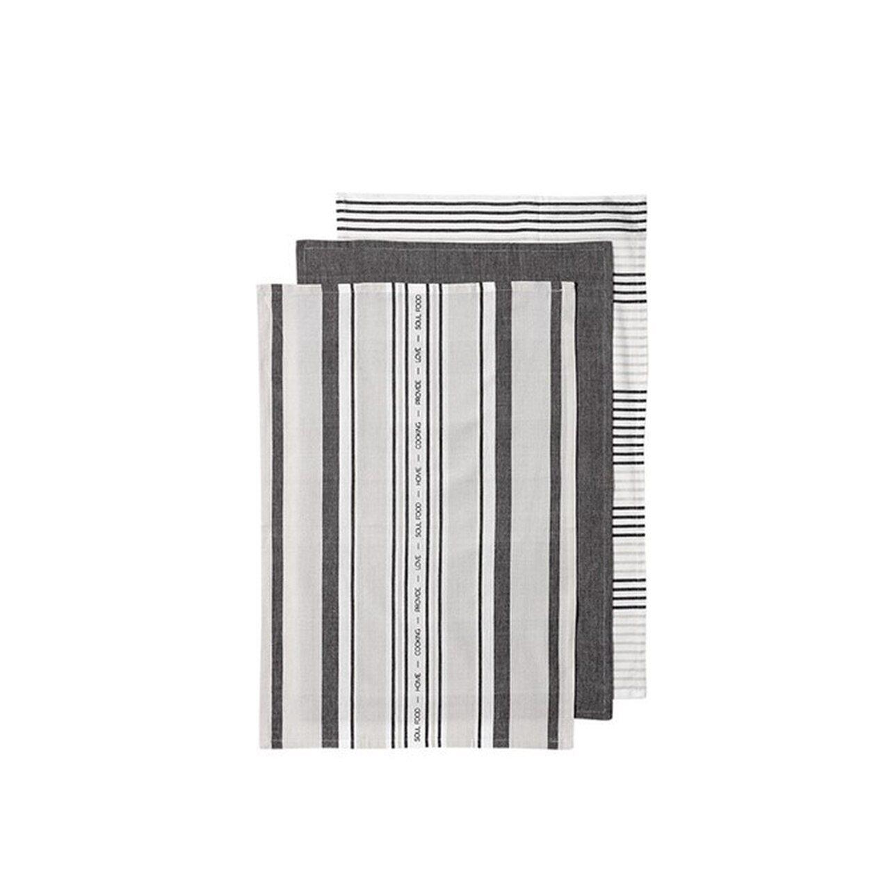 Ladelle Πετσέτες Κουζίνας Βαμβακερές Γκρι Abode Stripe 45X70cm- Σετ 3 Τεμάχια