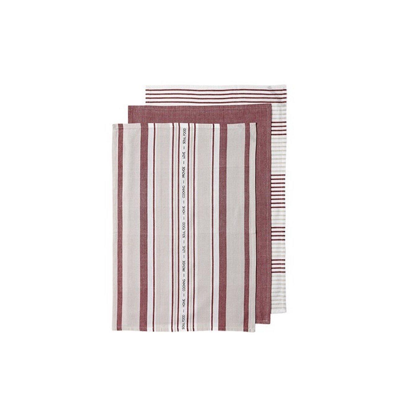 Ladelle Πετσέτες Κουζίνας Βαμβακερές Σκούρο Ροζ Abode Stripe 45X70cm- Σετ 3 Τεμάχια