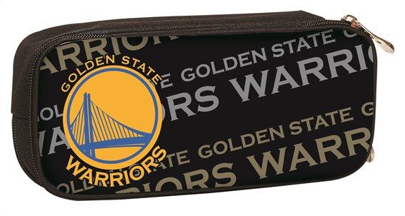 NBA Κασετίνα Οβάλ Υφασμάτινη με 1 Θήκη και Φερμουάρ Golden State Warriors