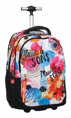 Maui & Sons Σχολική Τσάντα Τρόλευ Δημοτικού Πολύχρωμη Round Flowers 28x28x48cm
