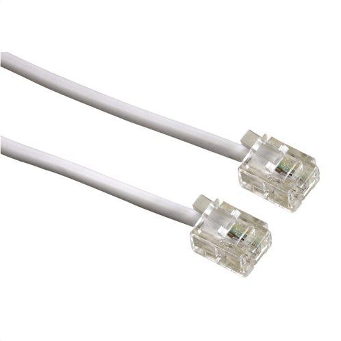 Hama Καλώδιο Τηλεφωνικής Μπρίζας, 6p4c plug - 6p4c plug, 10m, Λευκό