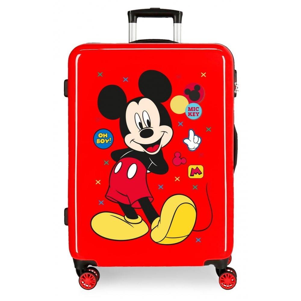 Disney Βαλίτσα 68x48x26cm ABS Mickey Enjoy the Day Oh Boy Red