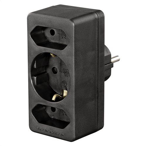 Hama 3-Way Multi-Plug, 2 Euro/1 Earthed Socket, black