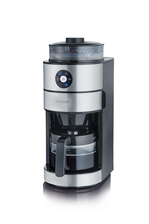 SEVERIN Καφετιέρα με Καφεκόπτη 820W, 6 Φλυτζάνια Μαύρη-Inox - 4811SEV