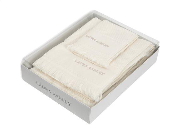 Laura Ashley Σετ Πετσέτες 3 τεμαχίων Fringes Cream