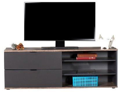 Velco Ξύλινο Έπιπλο Τηλεόρασης Latte/Ανθρακί 120x48x35cm 612-4542-34 με 2 Συρτάρια και 3 Ράφια