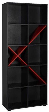 Velco Ραφιέρα Ξύλινη 10 Θέσεων 75x188x30cm Ανθρακί/Κόκκινο