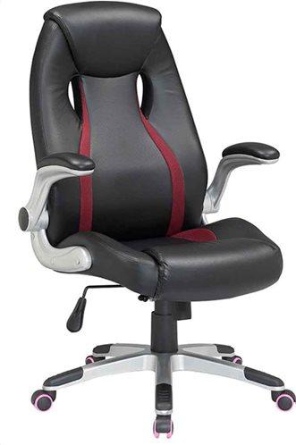 Velco καρέκλα γραφείου μαύρο-κόκκινο μπράτσα 66-35686