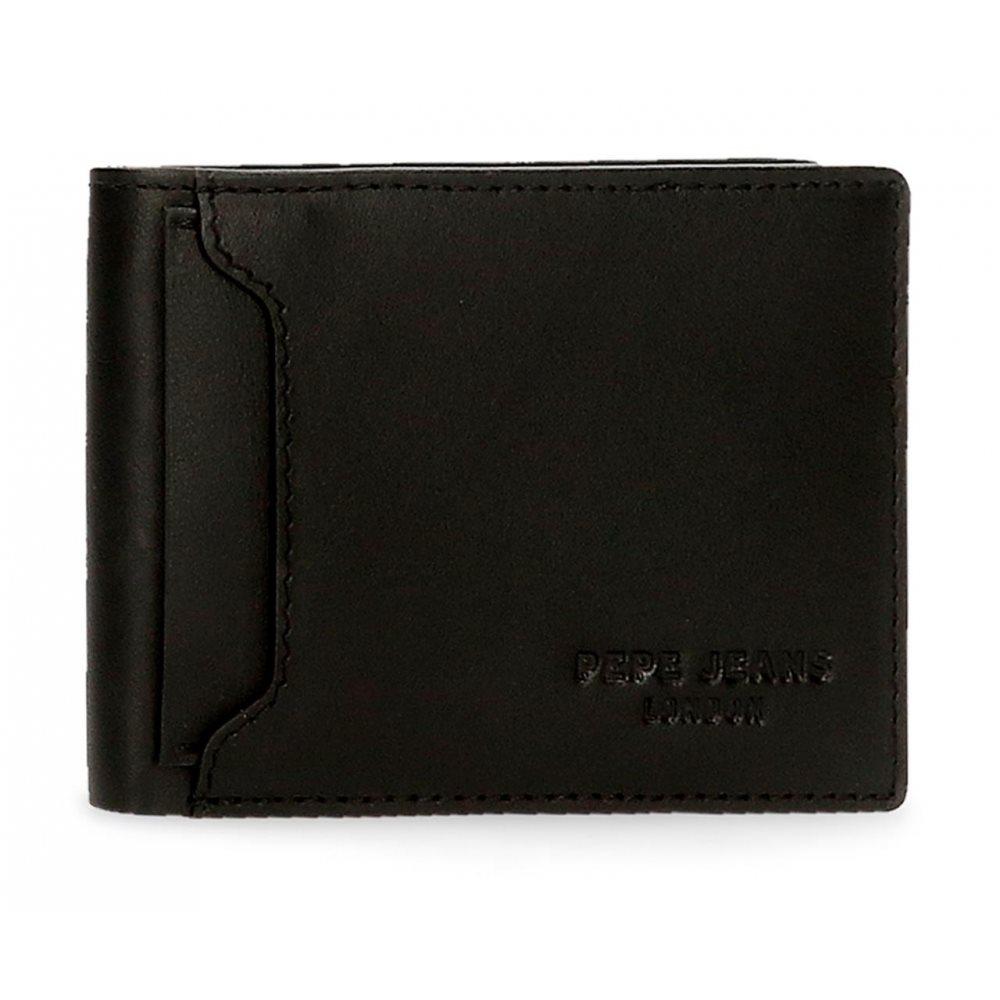 Pepe Jeans Ανδρικό πορτοφόλι δερμάτινο 8x11x1cm Dark Negro 7463121