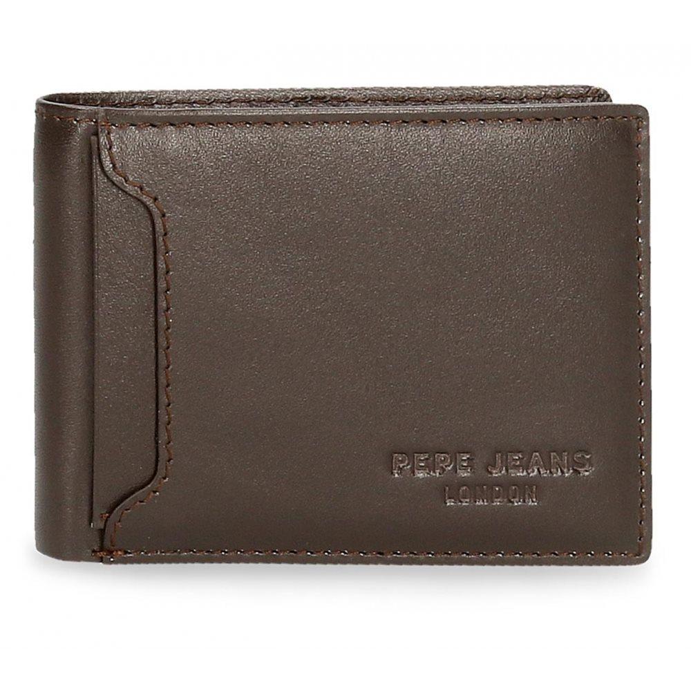 Pepe Jeans Ανδρικό πορτοφόλι δερμάτινο 8x11x1cm Dark Negro