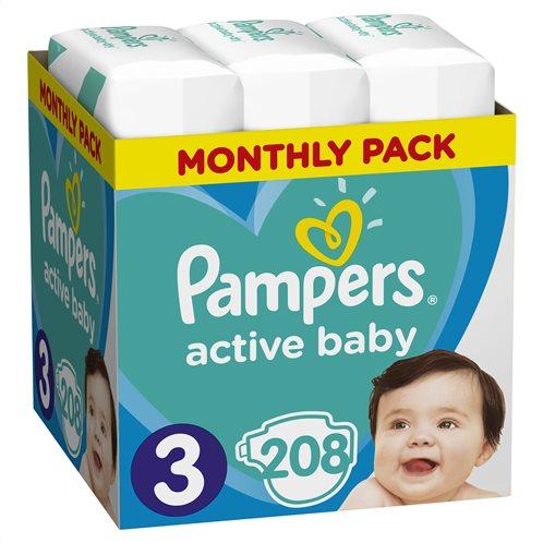 Pampers Active Baby Πάνες Με Αυτοκόλλητο No 3 6-10kg Monthly Box 208τμχ