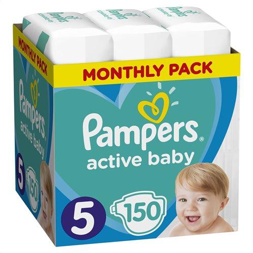 Pampers Active Baby Πάνες Με Αυτοκόλλητο No 5 11-16Kg Monthly Box 150τμχ