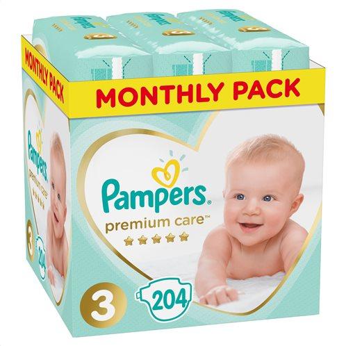 Pampers Premium Care Πάνες Με Αυτοκόλλητο No 3 6-10 Kg Monthly Box 204τμχ