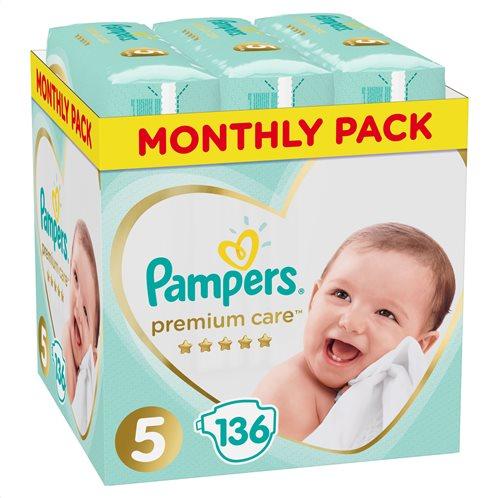Pampers Premium Care Πάνες Με Αυτοκόλλητο No 5 11-16kg Monthly Box 136τμχ
