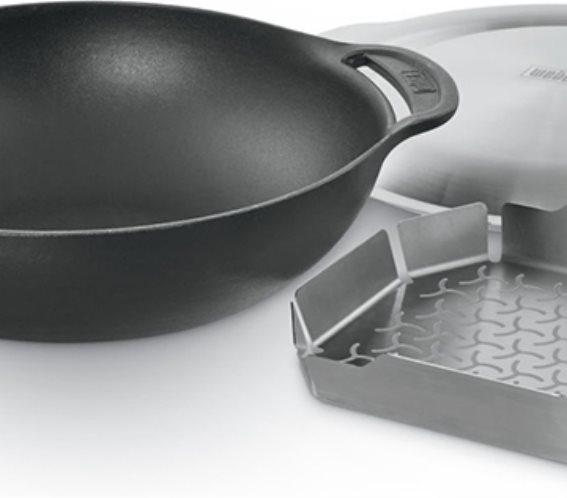 Weber Μαντεμένιο Σκεύος Gourmet Wok + Αξεσουάρ με Σχάρα για Μαγείρεμα στον Ατμό 8856