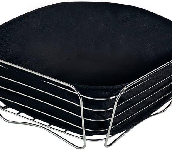 Ψωμιέρα Επιτραπέζια Χρωμέ με Μαύρο Κάλυμμα 26X26X11cm