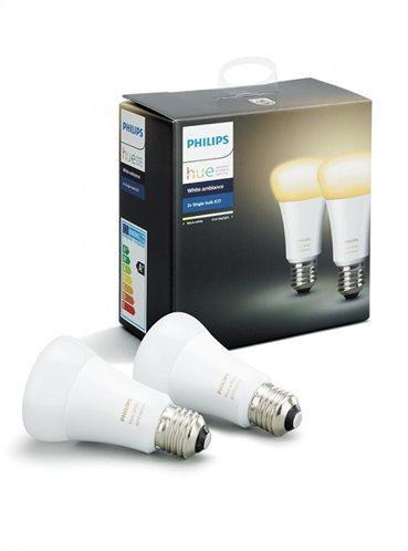 Philips Hue White Ambiance 9.5W A60 E27 x2 Pack