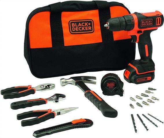 Black+Decker Δραπανοκατσάβιδο 10.8V με 20 εργαλεία χειρός και αξεσουάρ και τσάντα αποθήκευσης
