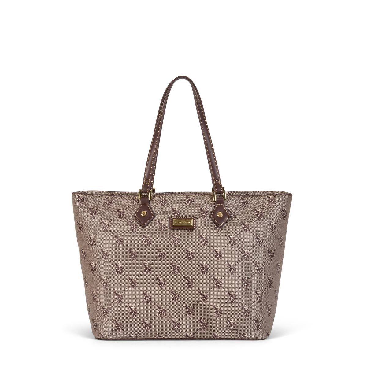 US Polo Assn. Τσάντα χειρός γυναικεία 31.5x14.5x27cm Hampton Brown