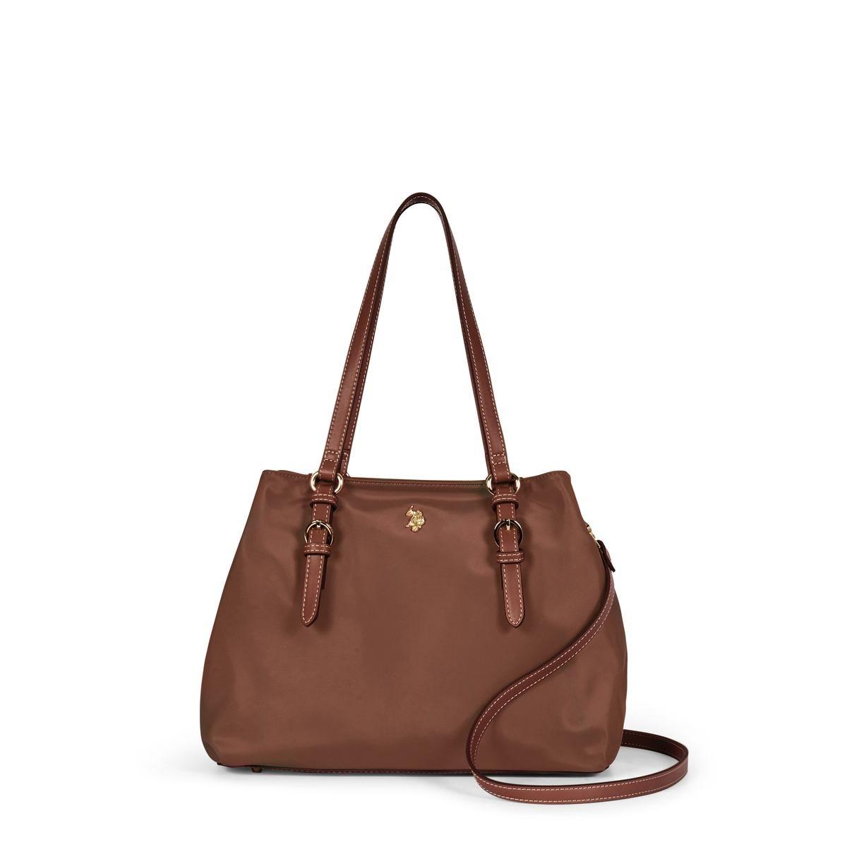 US Polo Assn. Τσάντα χειρός γυναικεία 33x14x24cm Houston Dark Brown