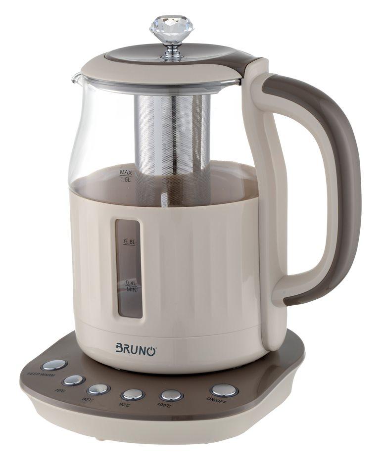 Bruno Βραστήρας με Γυάλινη Κανάτα 1.5lt 2200W Φίλτρο για Τσάι BRN-0027 με Επιλογή και Διατήρηση Θερμοκρασίας
