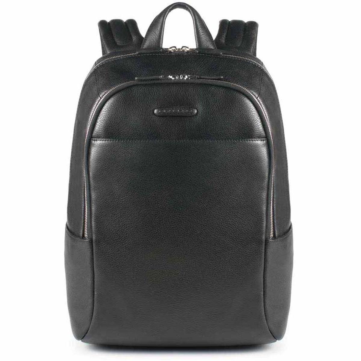 Piquadro Τσάντα πλάτης δερμάτινη 40x30x14cm με θέση PC 14   σειρά Modus Black