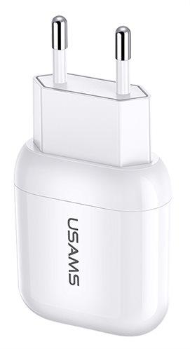 USAMS φορτιστής τοίχου T19 1x USB 2.1A λευκός