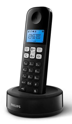PHILIPS ασύρματο τηλέφωνο D1611B/34 με ελληνικό μενού μαύρο