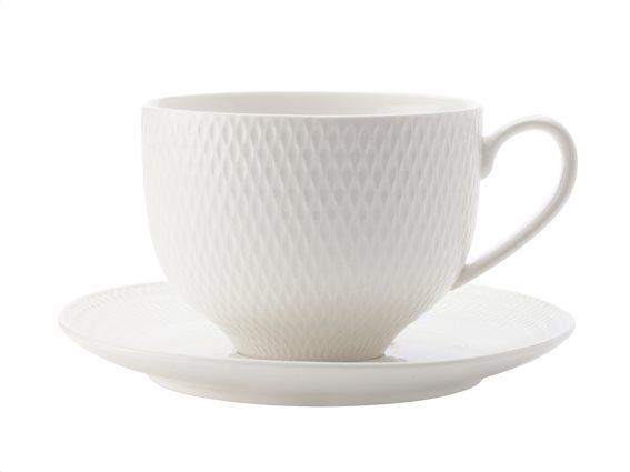 Maxwell & Williams Φλιτζάνι Καφέ & Πιάτο Πορσελάνη 220ml Diamonds DV0028