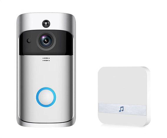 EKEN Δικτυακό κουδούνι πόρτας EKN-V5-SL WiFi Full HD Κάμερα ασημί