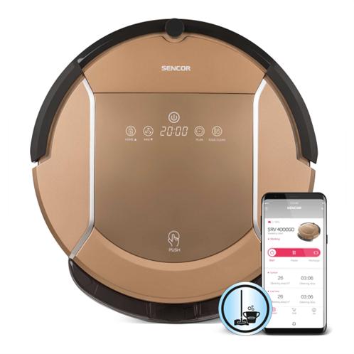Sencor Σκούπα Ρομπότ Smart με Wi-Fi και Λειτουργία Σφουγγαρίσματος SRV 4000GD