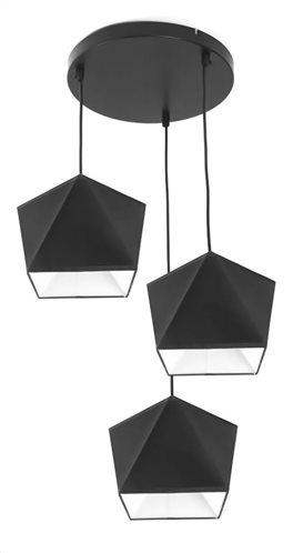 POWERTECH τρίφωτο φωτιστικό οροφής HLL-0013 E27 μεταλλικό λευκό-μαύρο
