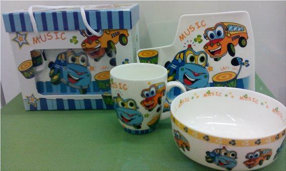 Cook-Shop Παιδικό Σετ 3τμχ Πορσελάνη Αυτοκινητάκια