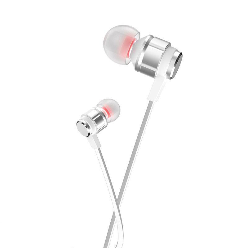 HOCO M85 Platinum sound universal earphone με μικρόφωνο pearl ασημί