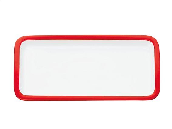 Maxwell & Williams Πιατέλα Ορθογώνια Παραλληλόγραμμη Κόκκινο Περίγραμμα Πορσελάνη 20x11cm Colour Basics