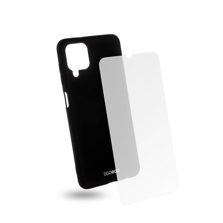 EGOBOO Tempered Glass + Case Rubber TPU Black (Samsung A12)